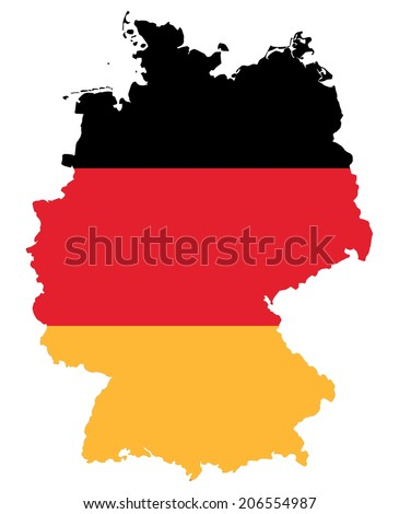 symbolic image: Federal Republic of Germany: outline and flag.