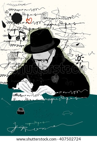 Symbolic image of a man who writes a letter with pen and ink - stock photo