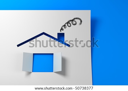 Symbolic paper house 3d rendering - stock photo