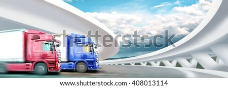symbolic picture of cargo fleet on the road - stock photo