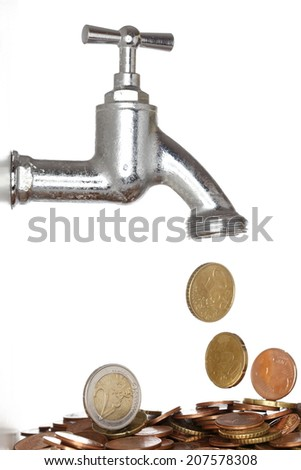symbolic plug with different money coins - stock photo