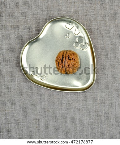 Symbolism -Man Heart,Healthy Heart,Strong Walnut Nut Kernel,Harvest,Fruits,Metal Heart Box,Textured Fabric,Textile,Delicate Warm Knitted Downy Drapery,Heart Pack,Autumn Composition,Rustic,Vintage.