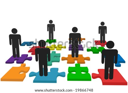 Symbolize human resources issues and other people issues and solutions with symbol people on jigsaw pieces, which actually form a puzzle. - stock photo