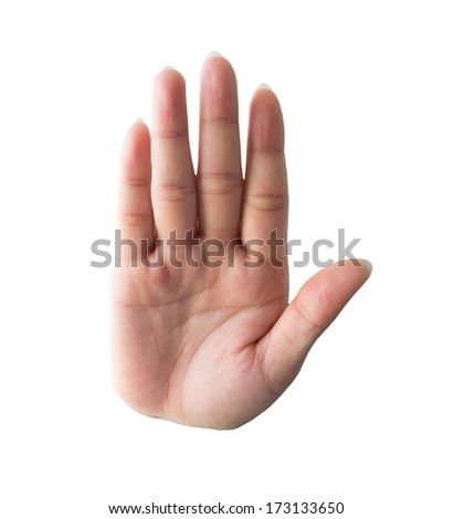 Symbolize the hand of woman isolated on a white background. - stock photo