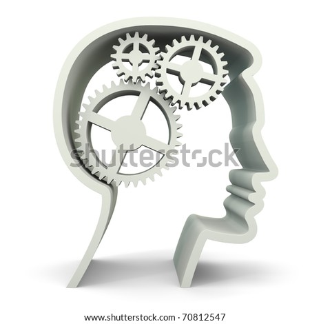 Symbolized male face with 3 gears