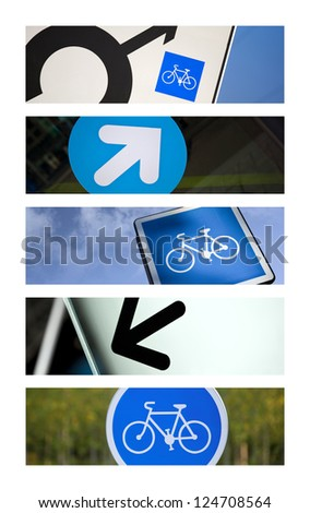 Symbols and cycle track collage