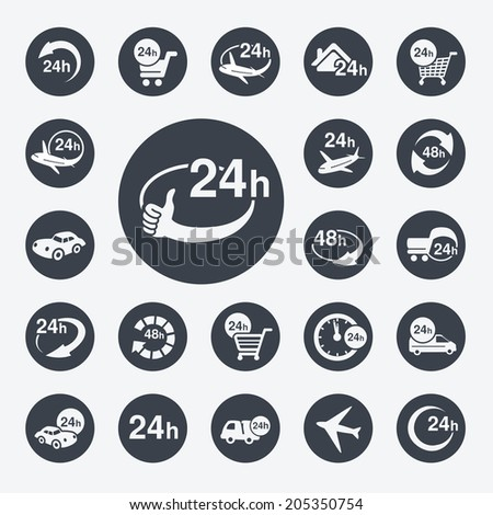symbols - delivery of purchase a home within 24 or 48 hours - stock photo