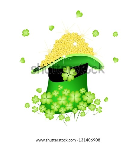 Symbols for Fortune and Luck, An Illustration Stack of Golden Four Leaf Clovers or Shamrocks in Saint Patrick's Hat - stock photo