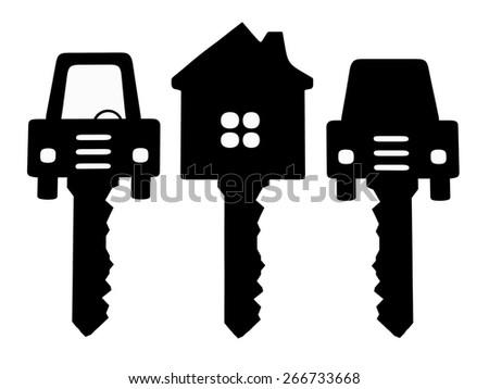 Symbols house keys and cars isolated on white background - stock photo