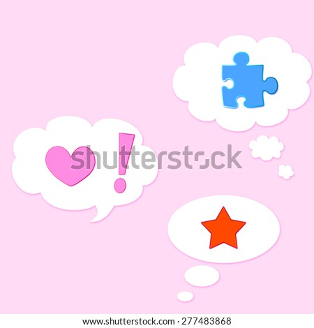 Symbols in speech bubbles - stock photo