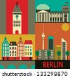Symbols of Berlin. - stock vector