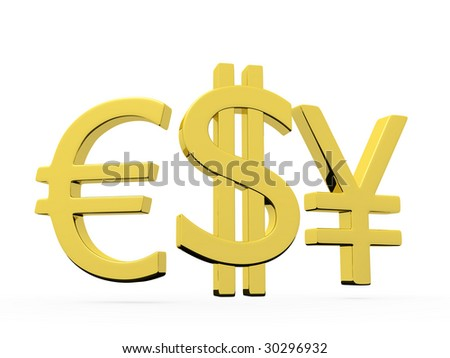 Symbols of dollar euro and yena on white background