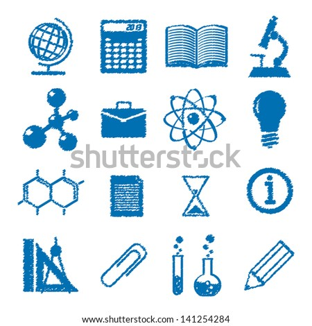 symbols of education. icons in the style of the sketch.(vector version also available in my gallery) - stock photo