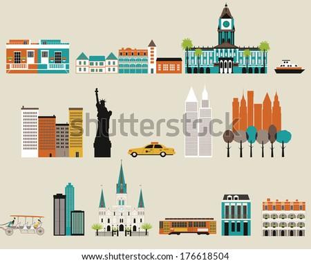 Symbols of famous  cities.  - stock photo