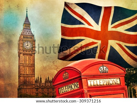 Symbols Of London England The UK Telephone Red Booth Big Ben And