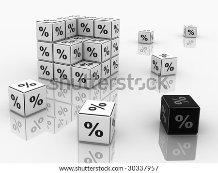 Symbols of percent on cubes