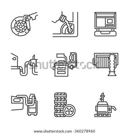 Symbols of service for automobile. Repair shop, car functional testing. Flat black line style icons set.  Design elements for website or mobile app. - stock photo
