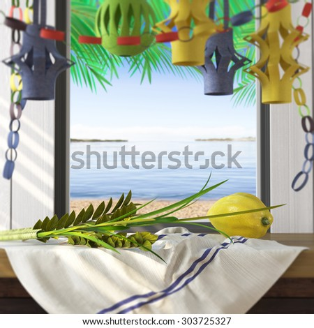 Symbols of the Jewish holiday Sukkot with palm leaves and sea beach