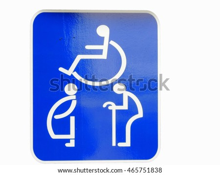 Symbols signs,This place for disabled, pregnant women, the elderly.