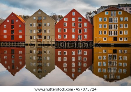 Symmetric reflection of old houses in Trondheim, Norway