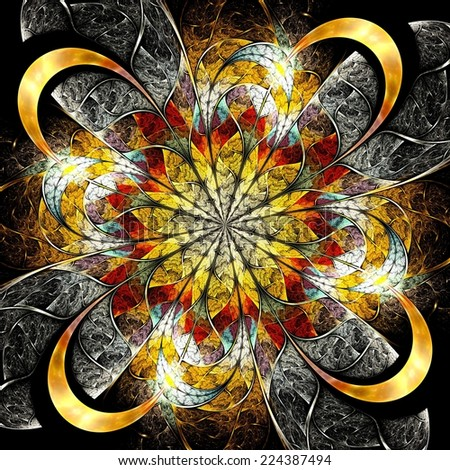 Symmetrical colorful fractal flower, digital logarithm for creative graphic - stock photo