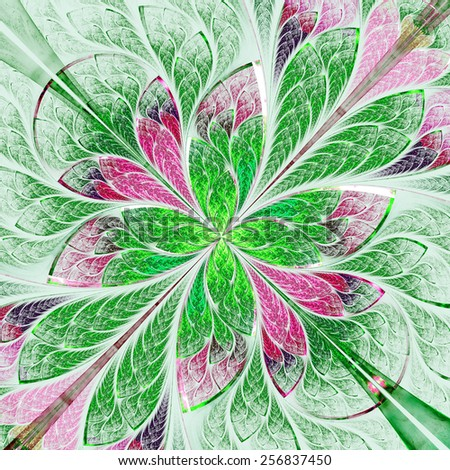Symmetrical flower pattern in stained-glass window style. Green and purple palette. Computer generated graphics. - stock photo