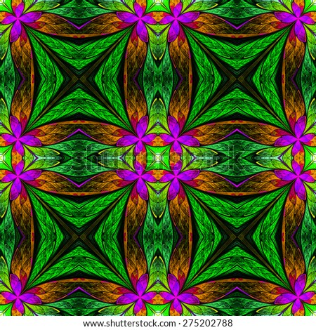 Symmetrical flower pattern in stained-glass window style on black. Green, purple and  brown palette. Computer generated graphics. - stock photo