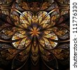 Symmetrical flower, warm and bright fractal art design - stock photo