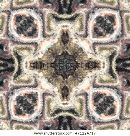 Symmetrical glasslike melting colorful kaleidoscopic pattern for design and background