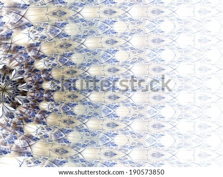 Symmetrical gold and dark blue fractal flower - stock photo