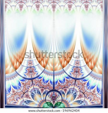 Symmetrical gold and dark blue fractal flower - stock photo