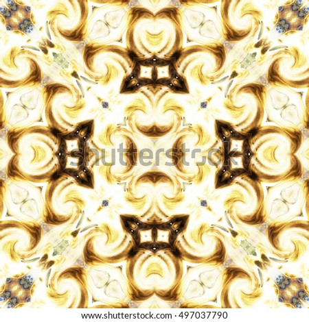 Symmetrical melting colorful kaleidoscopic pattern for design and background