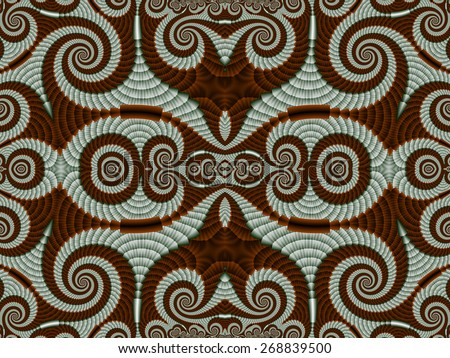 Symmetrical Pattern from Spiral fractal. Gray and brown palette. Computer generated graphics. - stock photo