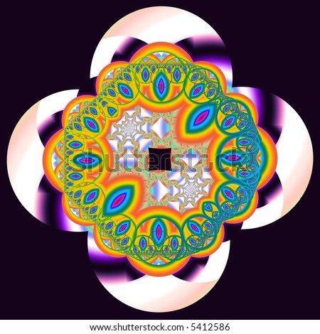 Symmetrical rainbow flower with crown made of circular repetition shapes