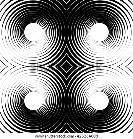 Symmetrical repeatable pattern with concentric circles, rings. Circular geometric pattern. Black and white, monochrome background - stock photo