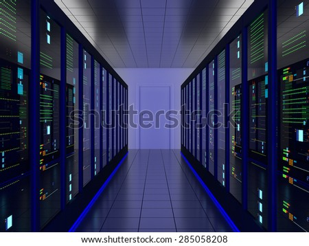 symmetrical server room (colocation) or colo with server cabinets on two sides