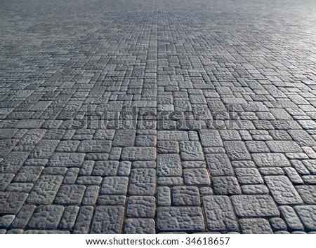 symmetry a pedestrian causeway - stock photo