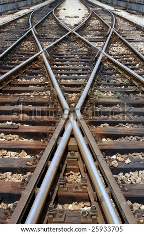 symmetry railway tracks - stock photo