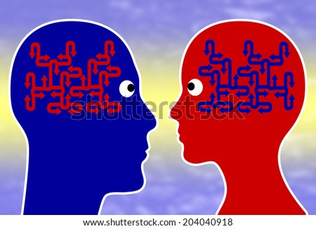 Sympathy Concept. People like each other when they discover common pattern of thinking and equal mindset - stock photo