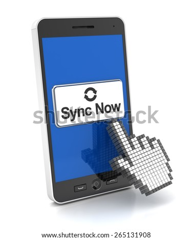 Syncing a smartphone, 3d nreder, white background - stock photo