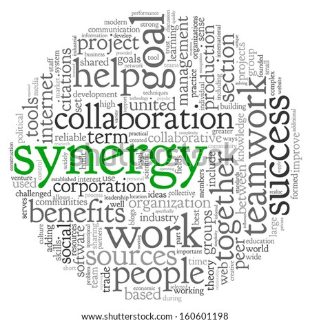 Synergy and teamwork concept in word tag cloud - stock photo