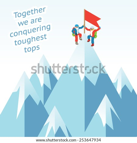 Synergy concept. Business mountain climbing in partnership. Two climbers have set a flag on the top of the mountain - stock photo