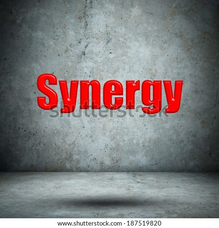 Synergy concrete wall - stock photo