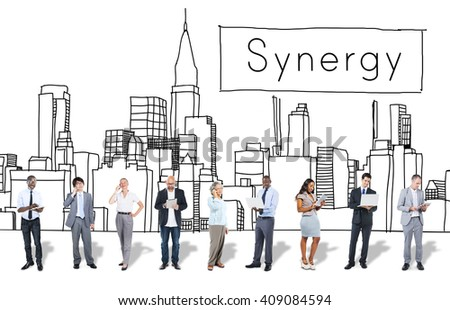 Synergy Team Interaction Organization Cooperation Concept - stock photo