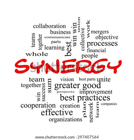 Synergy Word Cloud Concept in red caps with great terms such as team, win, together and more.