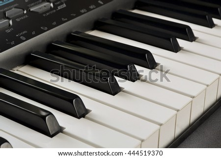 Synth keys for learning to play the piano - stock photo