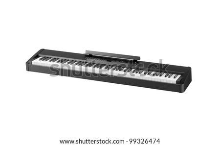 Synthesizer isolated on white background - stock photo
