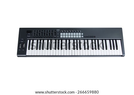 Synthesizer Keyboard with  Fader And Knob on White background - stock photo