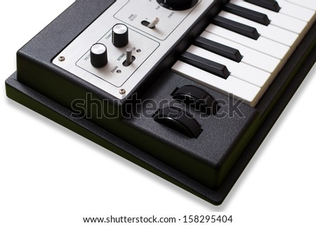 synthesizer keyboards for musician and music studio production on white