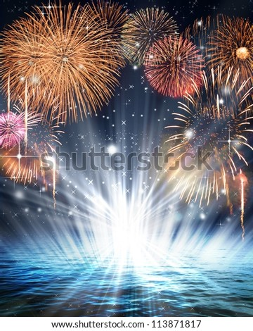 Synthetic background of fireworks